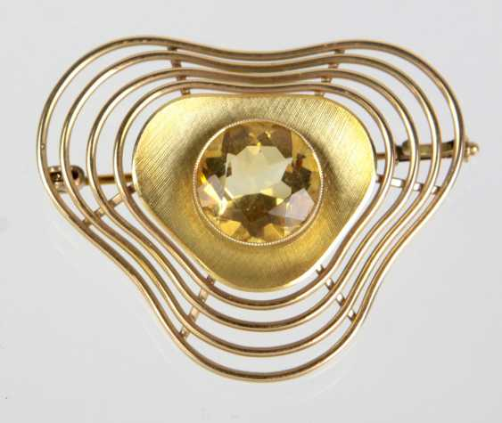 Brooch with citrine - yellow gold 585 - photo 1