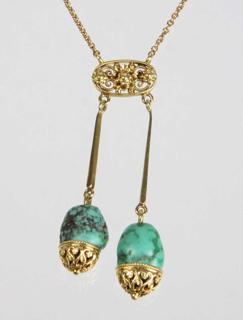Art Nouveau Style Turquoise Necklace - Yellow Gold 585 - photo 1