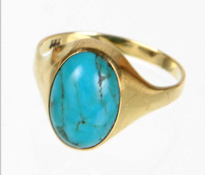 Turquoise Ring - Yellow Gold 333 - photo 1
