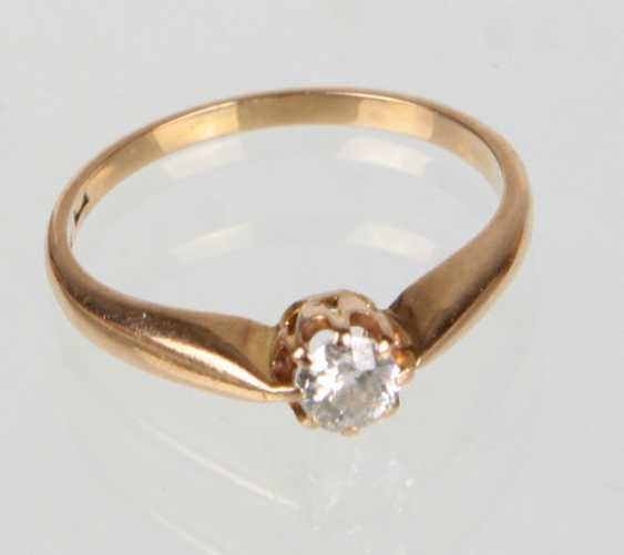 antique brilliant solitaire Ring yellow gold 585 - photo 1
