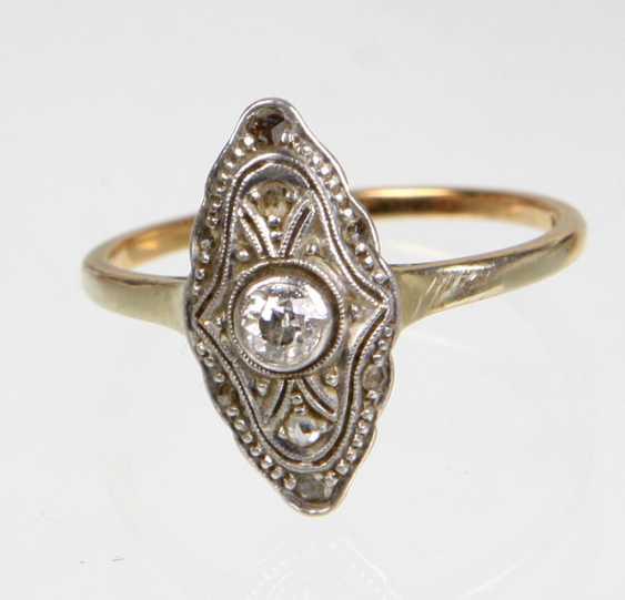 Art Deco Brillant Ring - Gelbgold/WG 585 - photo 1