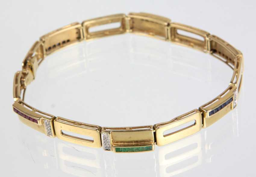Diamond bracelet with precious stones - yellow gold 585 - photo 1