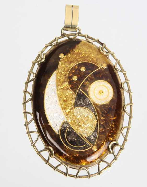 large enamel pendant - yellow gold 585 - photo 1