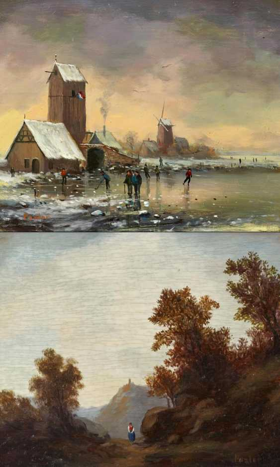 Two paintings: forest landscape with a ruin / society on the ice - photo 1