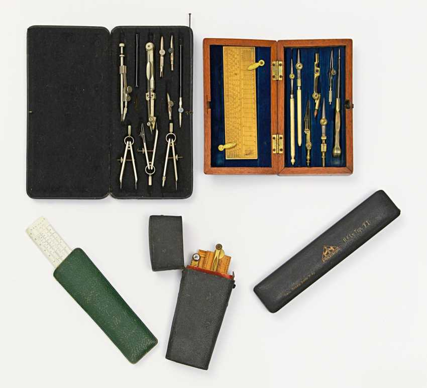 Vintage compass boxes, and various drawing instruments - photo 1