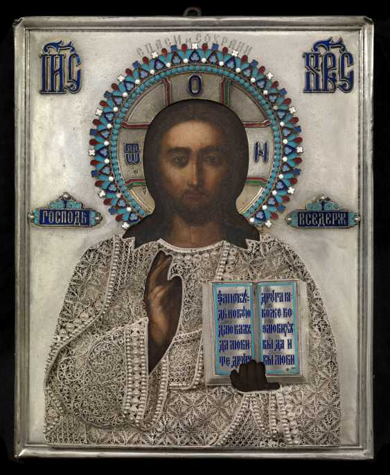 Christ Pantocrator with a Silver and Enamel Oklad