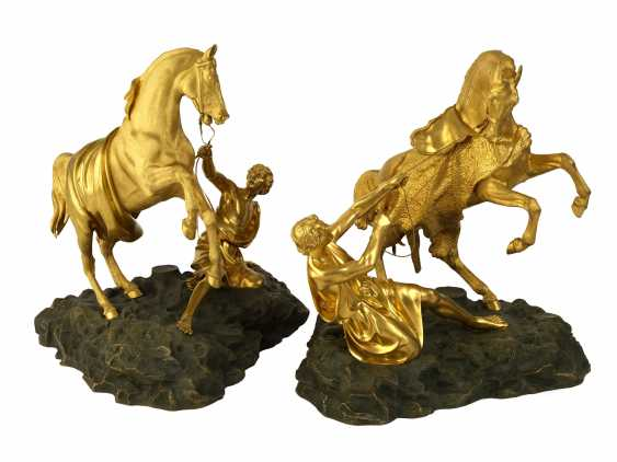 A Bronze Composition of a Pair of Horse Tamers from Anichkov Bridge Group