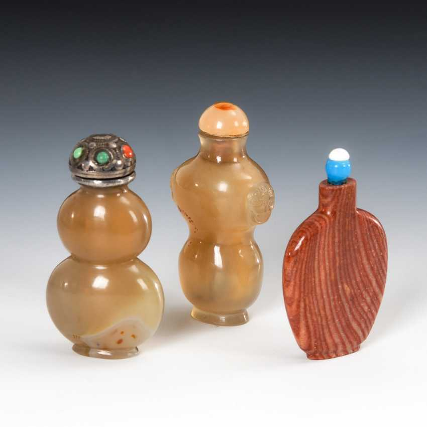 3 Snuffbottles - aus Mineralien. - photo 1