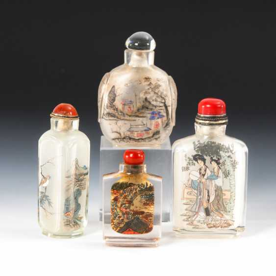 4 Snuffbottles glass with interior painting. - photo 2