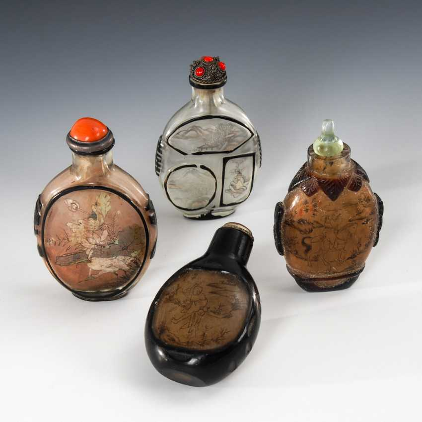4 Snuffbottles glass with interior painting. - photo 1