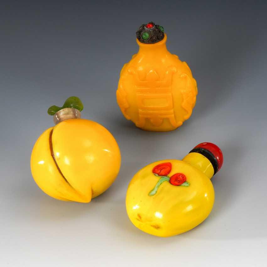 3 Snuffbottles - Pekingglas - photo 1