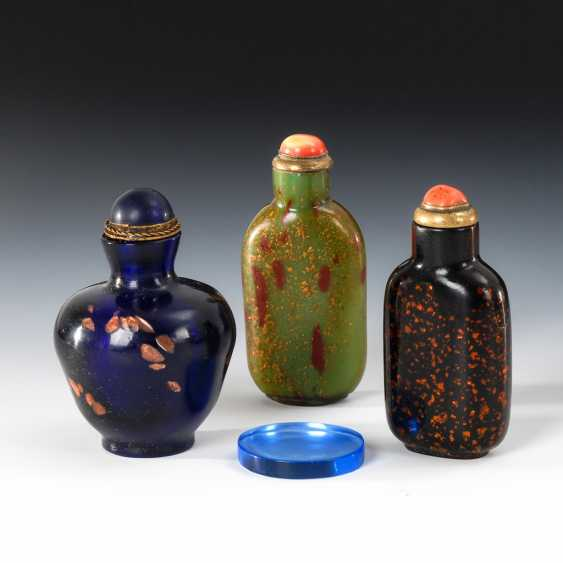 3 Snuffbottles glass with gold flakes-E - photo 1