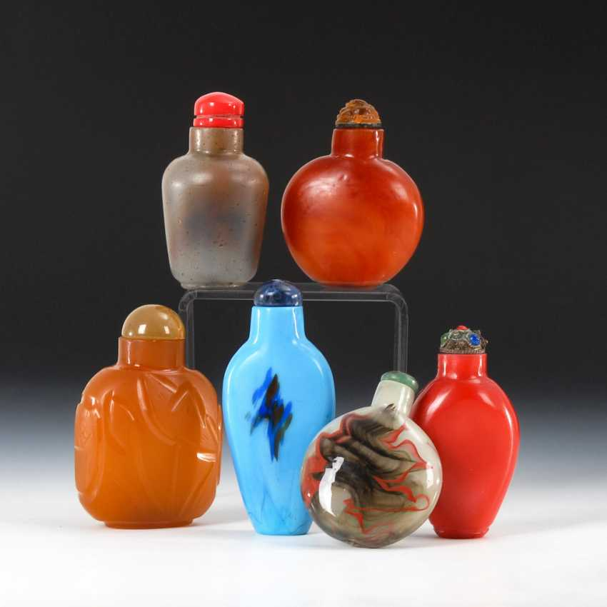6 Snuffbottles - Glas in Mineraloptik. - photo 1