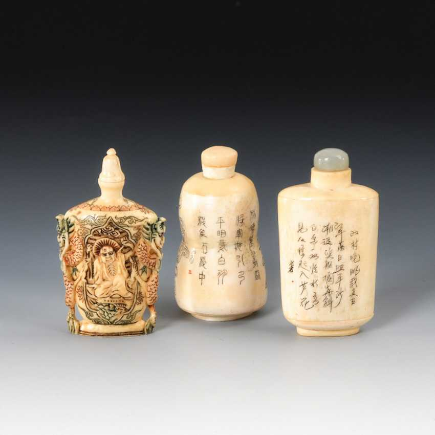 3 Snuffbottles - engraved and beschnit - photo 2