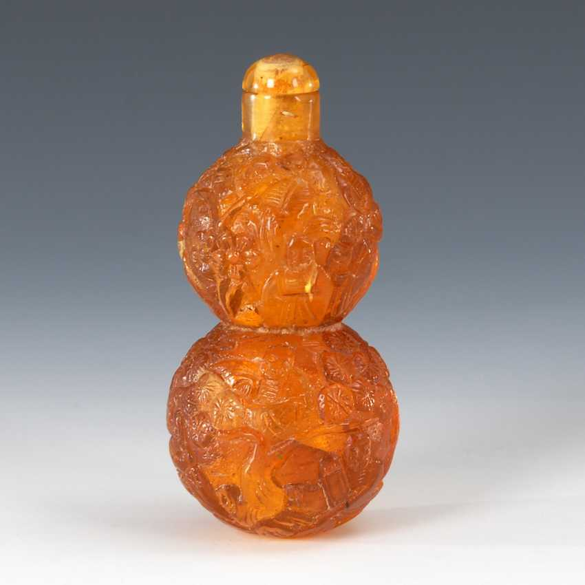 Snuffbottle - amber double gourd - photo 1