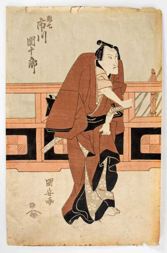 Kuniyasu, Utagawa: Samurai vor Geländer - Foto 1