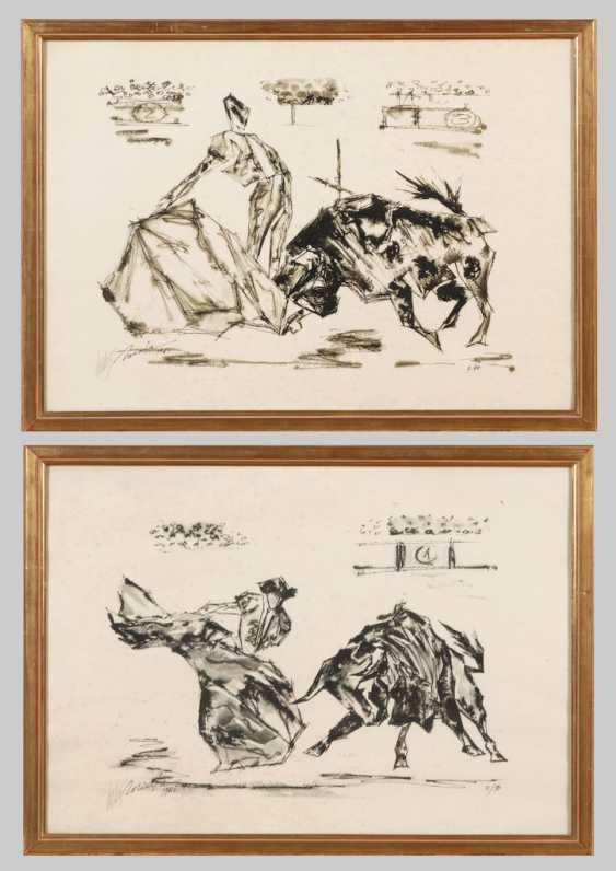 Undeutlich signiert (Muzafa ?): 2 Stier - Foto 1
