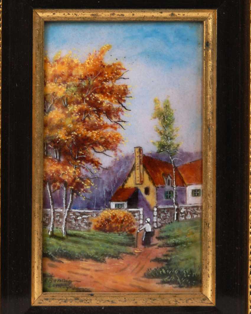 Enamel painting of LIMOGES: the village landscape. - photo 1