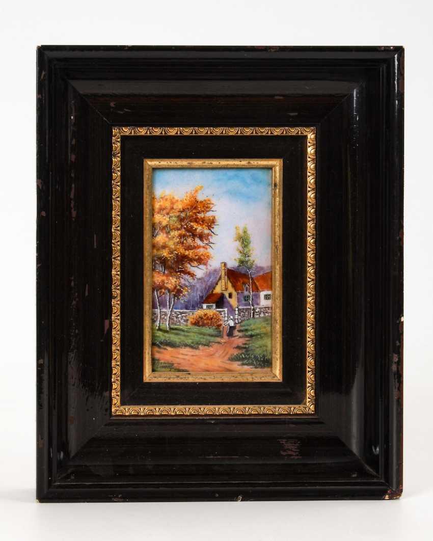 Enamel painting of LIMOGES: the village landscape. - photo 2