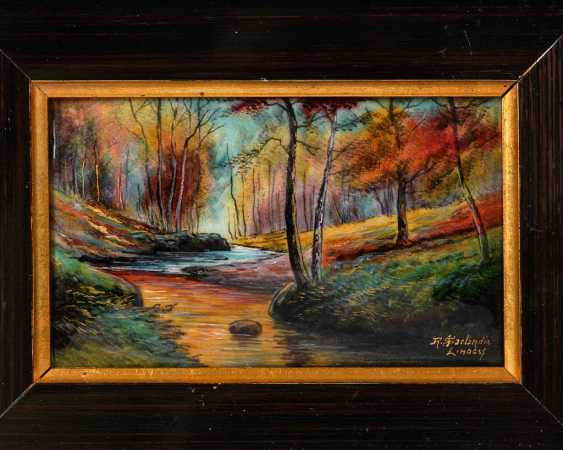 Enamel painting of LIMOGES: the forest landscape. - photo 1