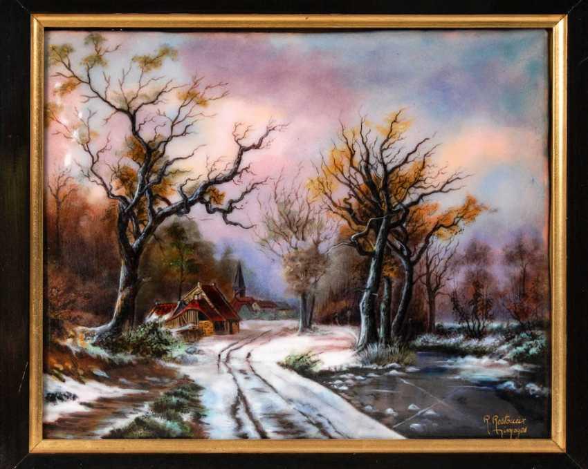 Large enamel painting of LIMOGES: Village - photo 1