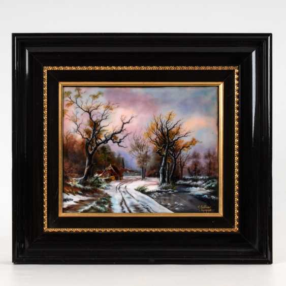 Large enamel painting of LIMOGES: Village - photo 2
