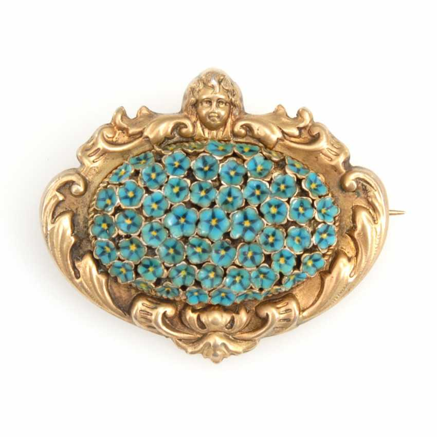 Viennese historicism brooch with enamel. - photo 1