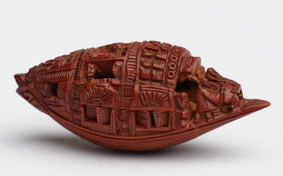 ZHAN GUSHENG: MINIATURE WORK OF COVERED BOAT WITH PASSENGERS AND LONG POEM - photo 1