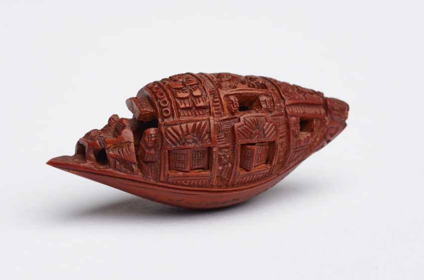 ZHAN GUSHENG: MINIATURE WORK OF COVERED BOAT WITH PASSENGERS AND LONG POEM - photo 2
