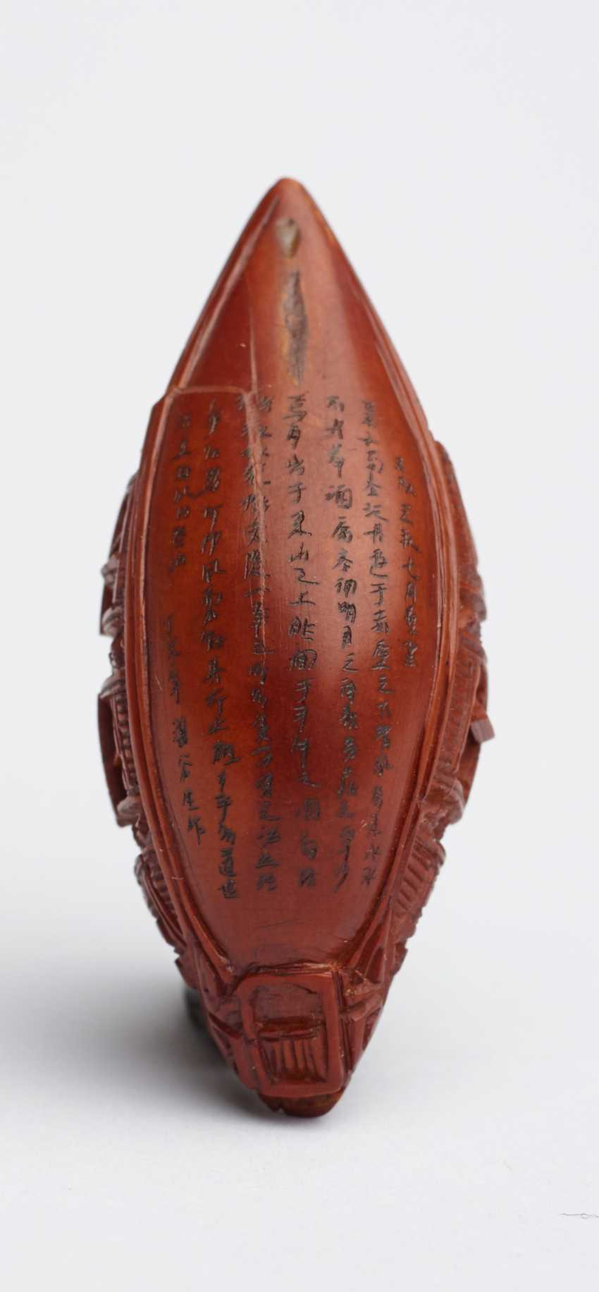 ZHAN GUSHENG: MINIATURE WORK OF COVERED BOAT WITH PASSENGERS AND LONG POEM - photo 3