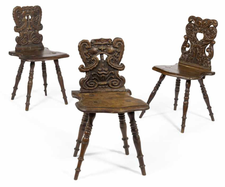 Three Baroque Board chairs. 18./19. Century - photo 1