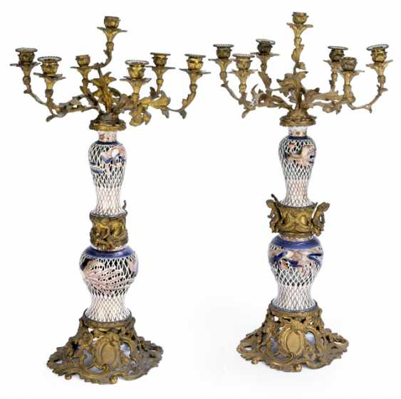 Pair of large candelabra. The Rococo Style, 19th Century. Century - photo 1
