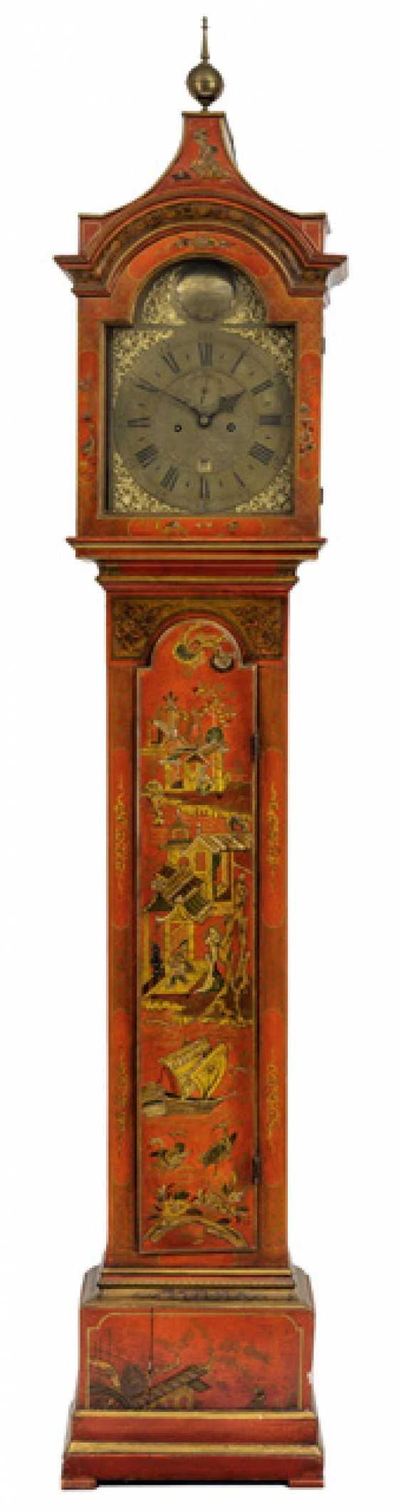 Longcase clock in the chinoisen style. Name Charles Harris Lynn, England, At The End Of 18. Century - photo 1