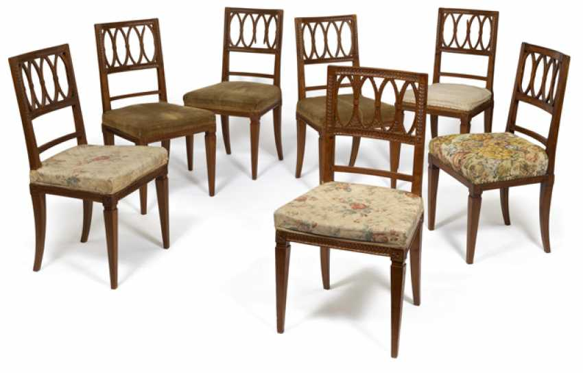 Set of six neoclassical chairs, to another. Late 18th century. Century - photo 1