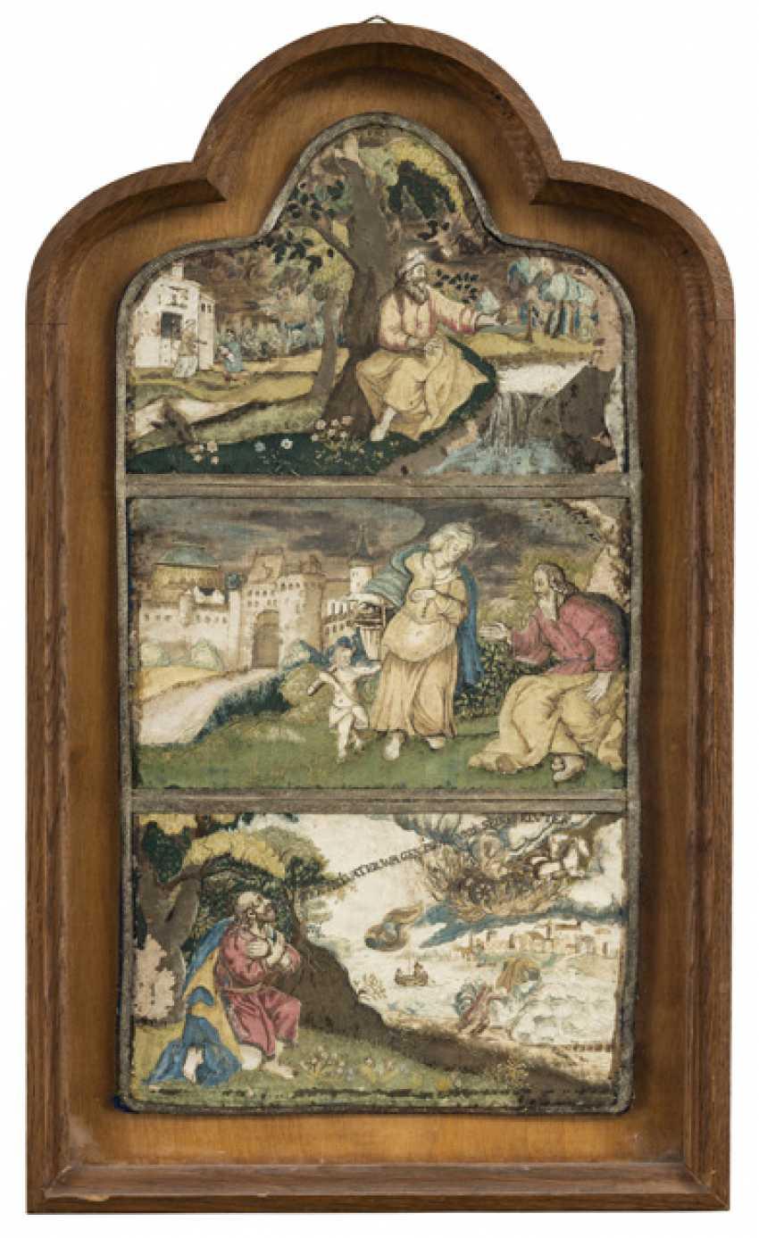 Klösterliche Seidenstickerei. wohl Süddeutsch, Ende 16./Anfang 17. Jahrhundert - Foto 1