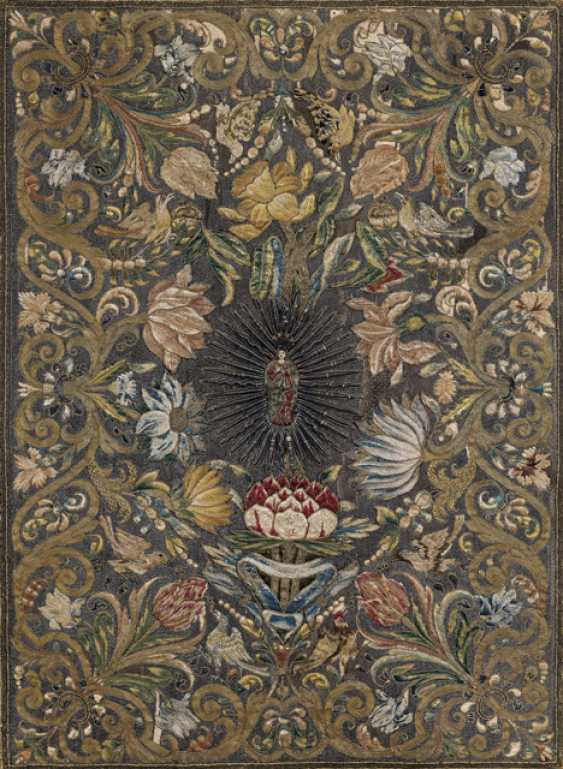 Votive silk embroidery with metal thread stitching. probably Italian, 17 in./18. Century - photo 1