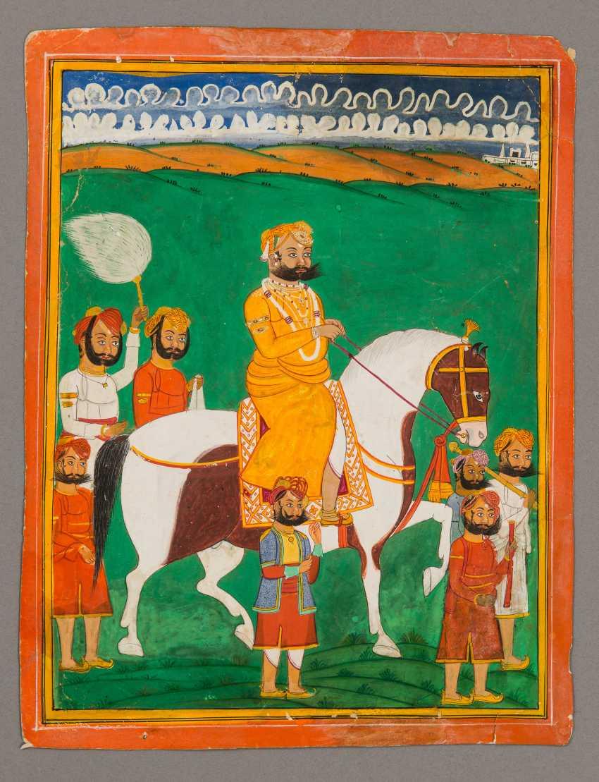 MAHARAJA ON HORSEBACK WITH ENTOURAGE
