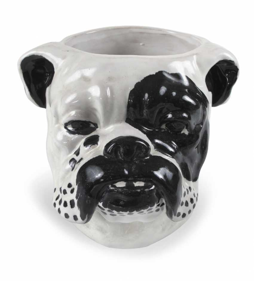CACHEPOT, ENGL. Bulldog,. REFERRED TO IN ITALY, BLACK-AND-WHITE - photo 1