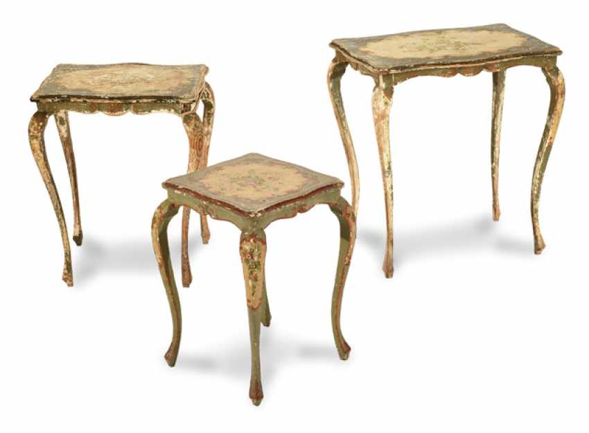 Lot 7579. SET OF 3 SIDE TABLES. POLYCHROMIC COLORING from the ...