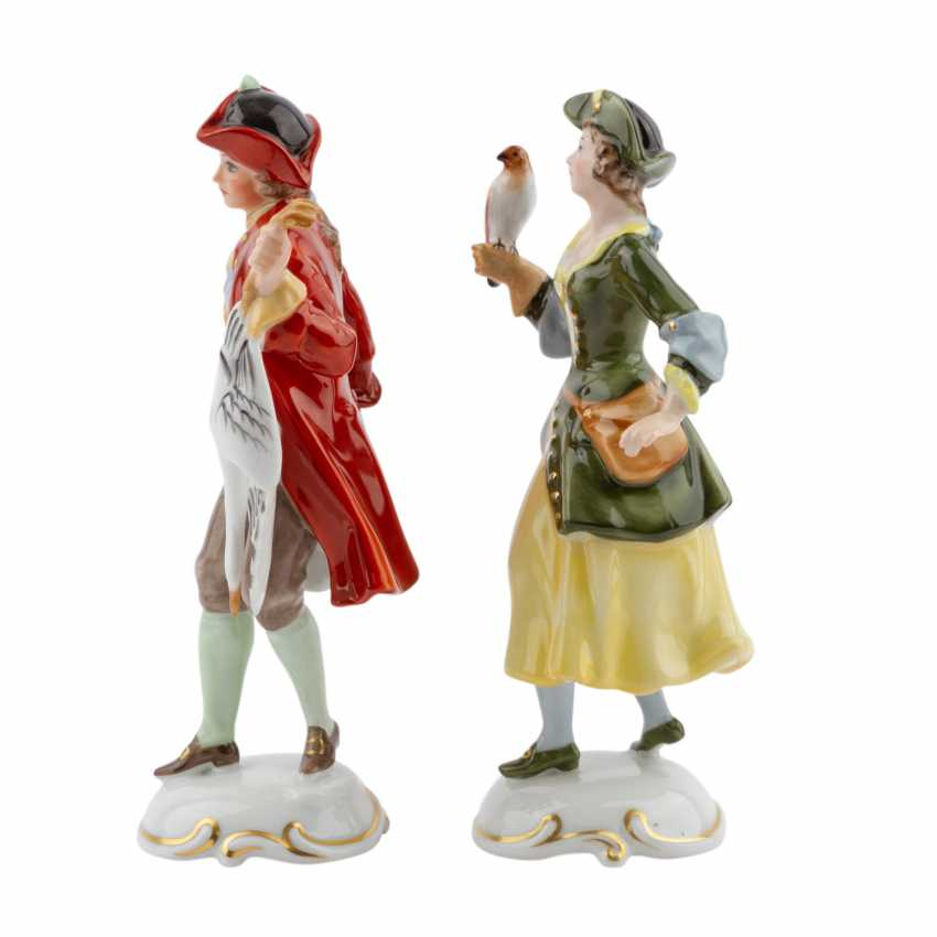 ROSENTHAL 2 characters 'Falknerin, and Falkner', 20. Century - photo 3