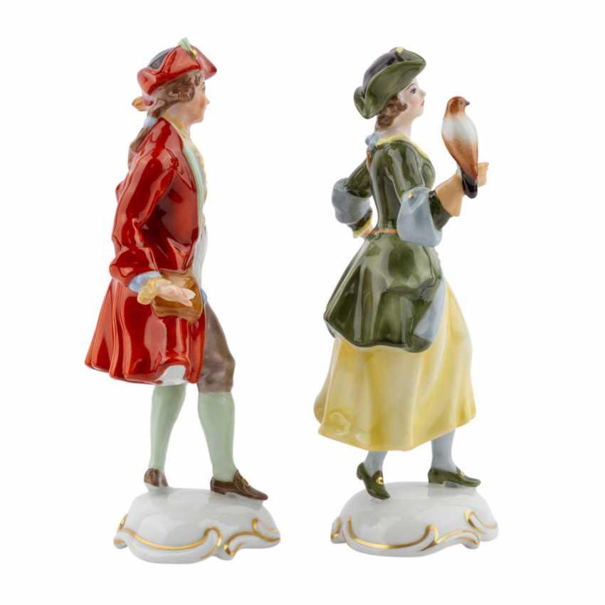 ROSENTHAL 2 characters 'Falknerin, and Falkner', 20. Century - photo 5