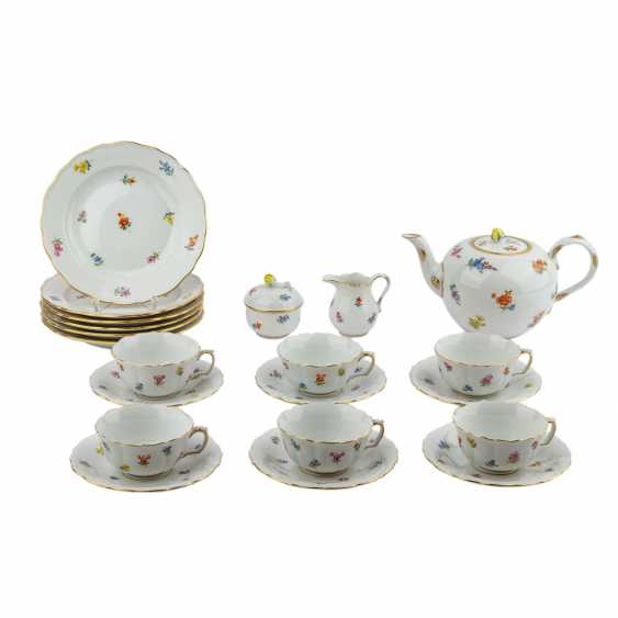 MEISSEN tea set for 6 persons 'scattered flowers', 20. Century - photo 1