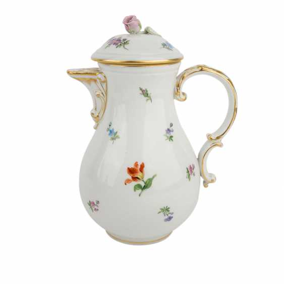 MEISSEN coffee service, parts f. min. 6 people 'scattered flowers with gold edge', Pfeiffer time, and earlier. - photo 2