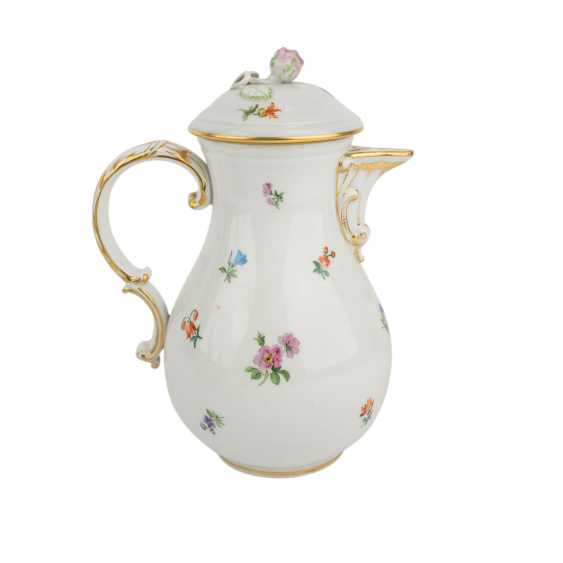 MEISSEN coffee service, parts f. min. 6 people 'scattered flowers with gold edge', Pfeiffer time, and earlier. - photo 4