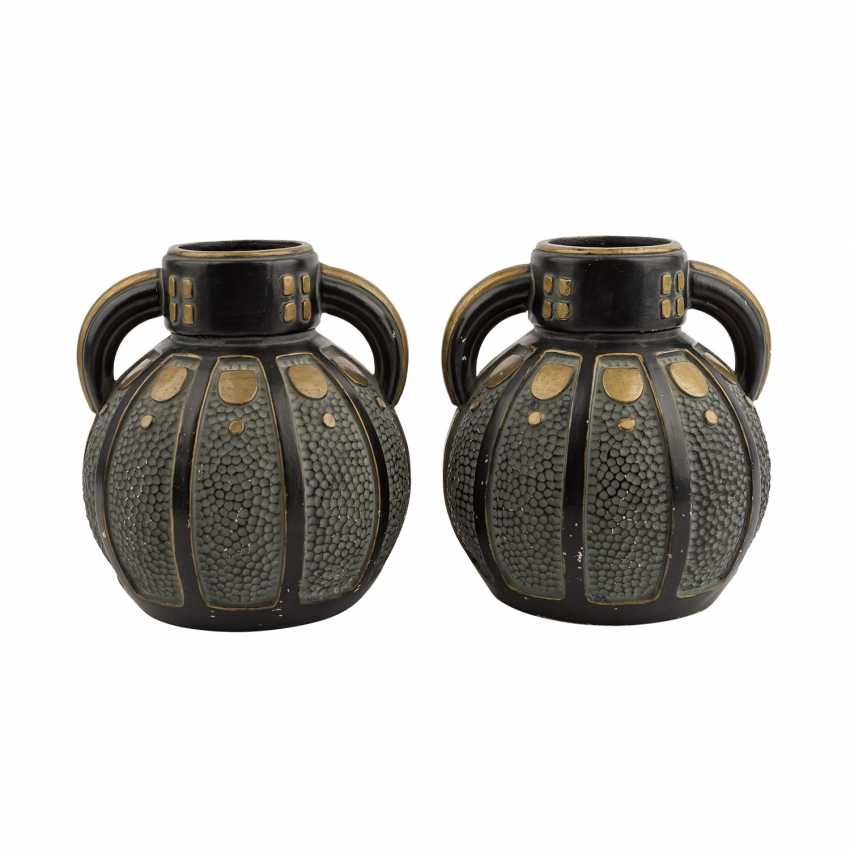 Art NOUVEAU Pair of Henkel vases. - photo 3