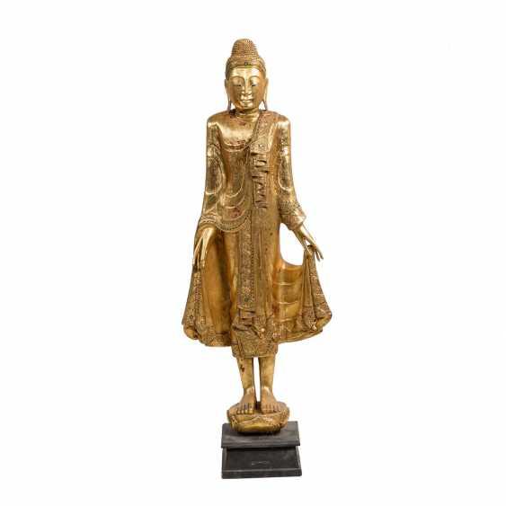 """THAILAND, 20. Jahrhundert., """"Stehender Buddha auf Lotussockel"""" - Foto 1"""