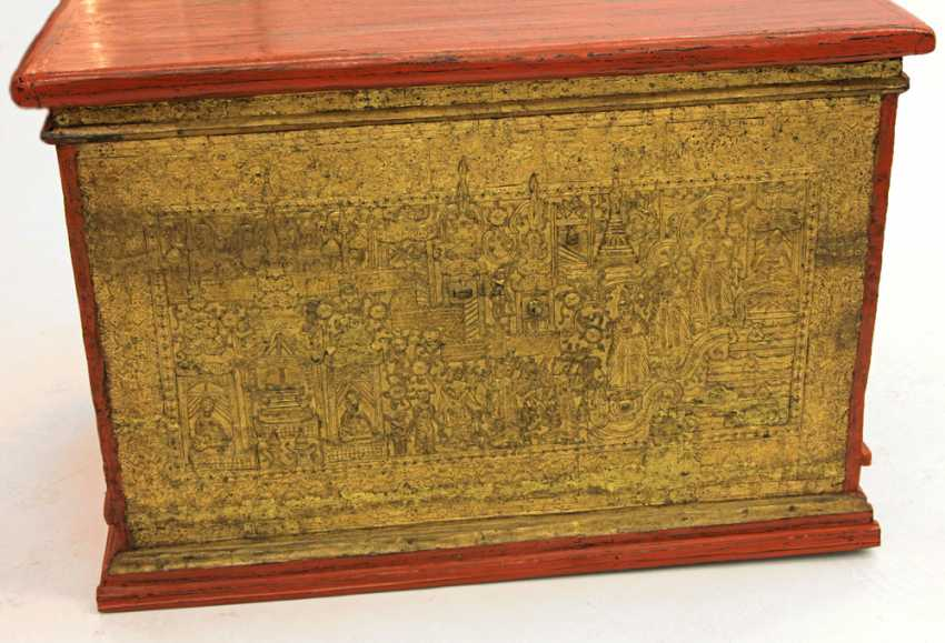 Gorgeous wooden chest for storage of manuscripts. BURMA, 19th century. Century, Mandalay Period. - photo 2