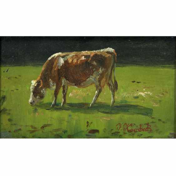 Grain Beck, JULIUS (1839-1920): cow in the Meadow while Browsing, 19./20. Century, - photo 1