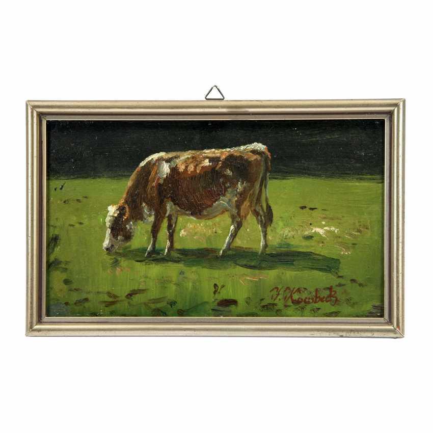 KORNBECK, JULIUS (1839-1920): Kuh auf der Wiese beim Grasen, 19./20. Jahrhundert, - Foto 2