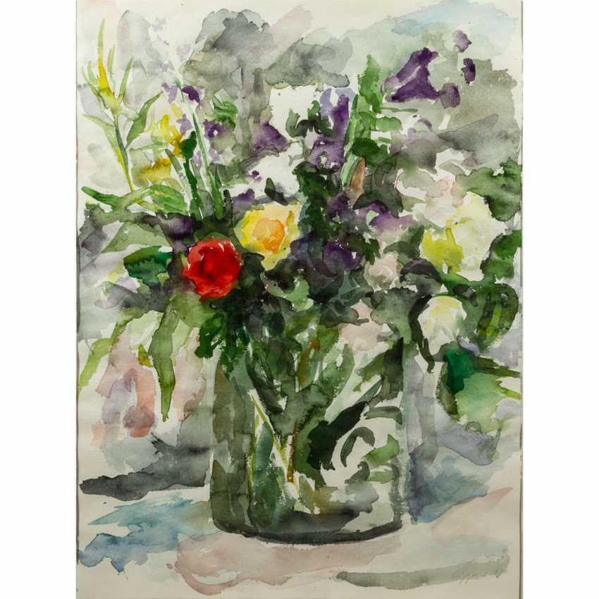 """LEIPPERT, JÜRGEN (geb. 1944), """"Blumenbouquet in Glasvase"""", - Foto 1"""